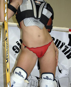 Leggy girl sucking duck from hockey player