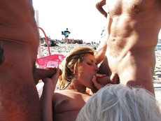 Wild orgy on the nudist beach,German swingers..