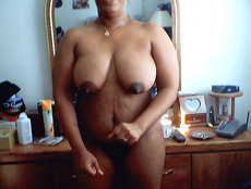 Black BBW exposes fat pussy lips, when her hubby..