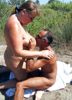 Three older men shared one fatty girl in the field