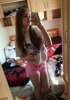 Young babe makes selfie, several amateur photos..