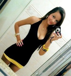 Cute teen in tight black dress..