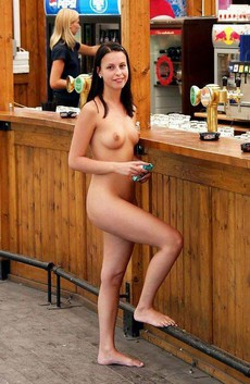 Teen exhibitionist naked at public