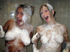 Nude girlfriends bathe in the shower, hm pics