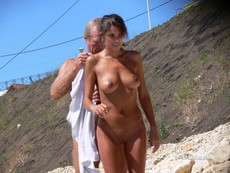 Women and couples on the nudist beach