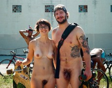 Amateur nudists cyclists on european streets
