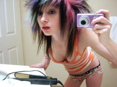 Awesome amateur emo girls slips out their..